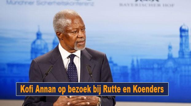 Kofi Annan op bezoek bij Rutte en Koenders
