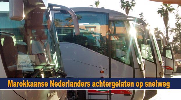 Bus vol Marokkaanse Nederlanders achtergelaten op snel...