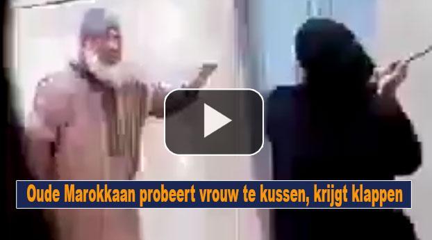 Oude Marokkaan probeert vrouw te kussen, krijgt klappen