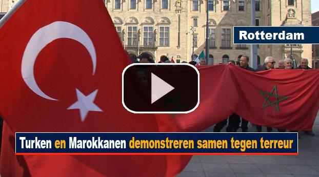 Turken en Marokkanen demonstreren samen tegen terreur
